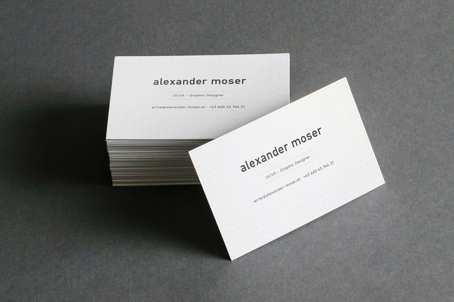 Alexander Moser Visitenkarte- moseralex. - Gmunden Altmünster - UX Design - Graphic Design - Grafikdesign