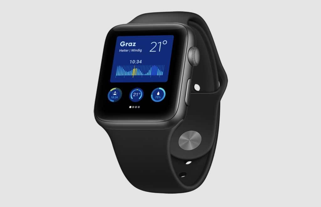 User Experience & Grafikdesign - Alexander-Moser_Wetter-App_Apple-Watch-Mockup_Wetter-App