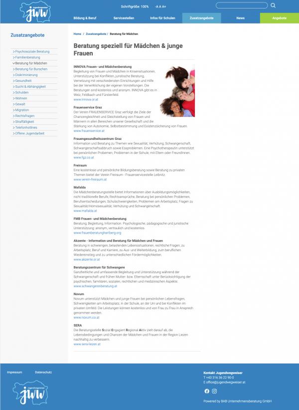 Website-Jugendwegweiser-BAB-Unternehmensberatung Graz Alexander Moser apt* UX