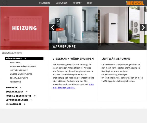Heizung - Heissl Installationstechnik Screenshot Website by Alexander Moser Graz Altmünster Gmunden