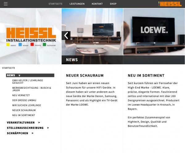 User Experience & Grafikdesign - homepage - Heissl Installationstechnik Screenshot Website by Alexander Moser Graz Altmünster Gmunden