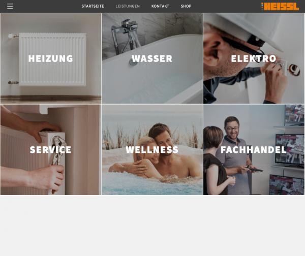 Leistungen - Heissl Installationstechnik Screenshot Website by Alexander Moser Graz Altmünster Gmunden