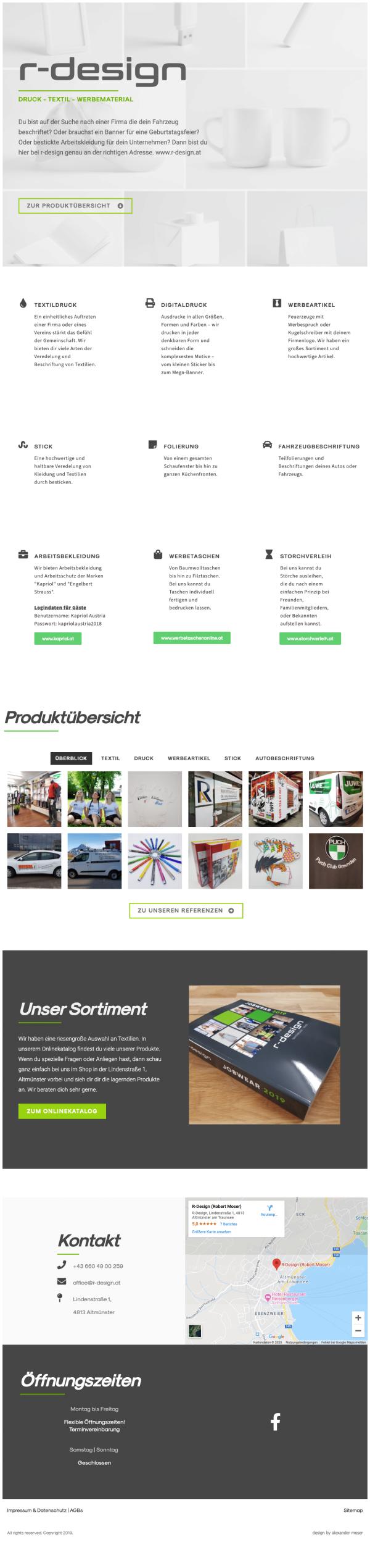 website r-design altmünster by alexander moser
